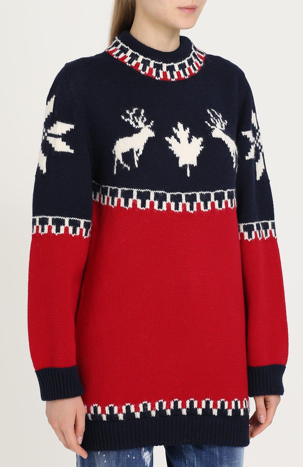 Удлиненный пуловер с принтом Dsquared2 красный | Фото №3