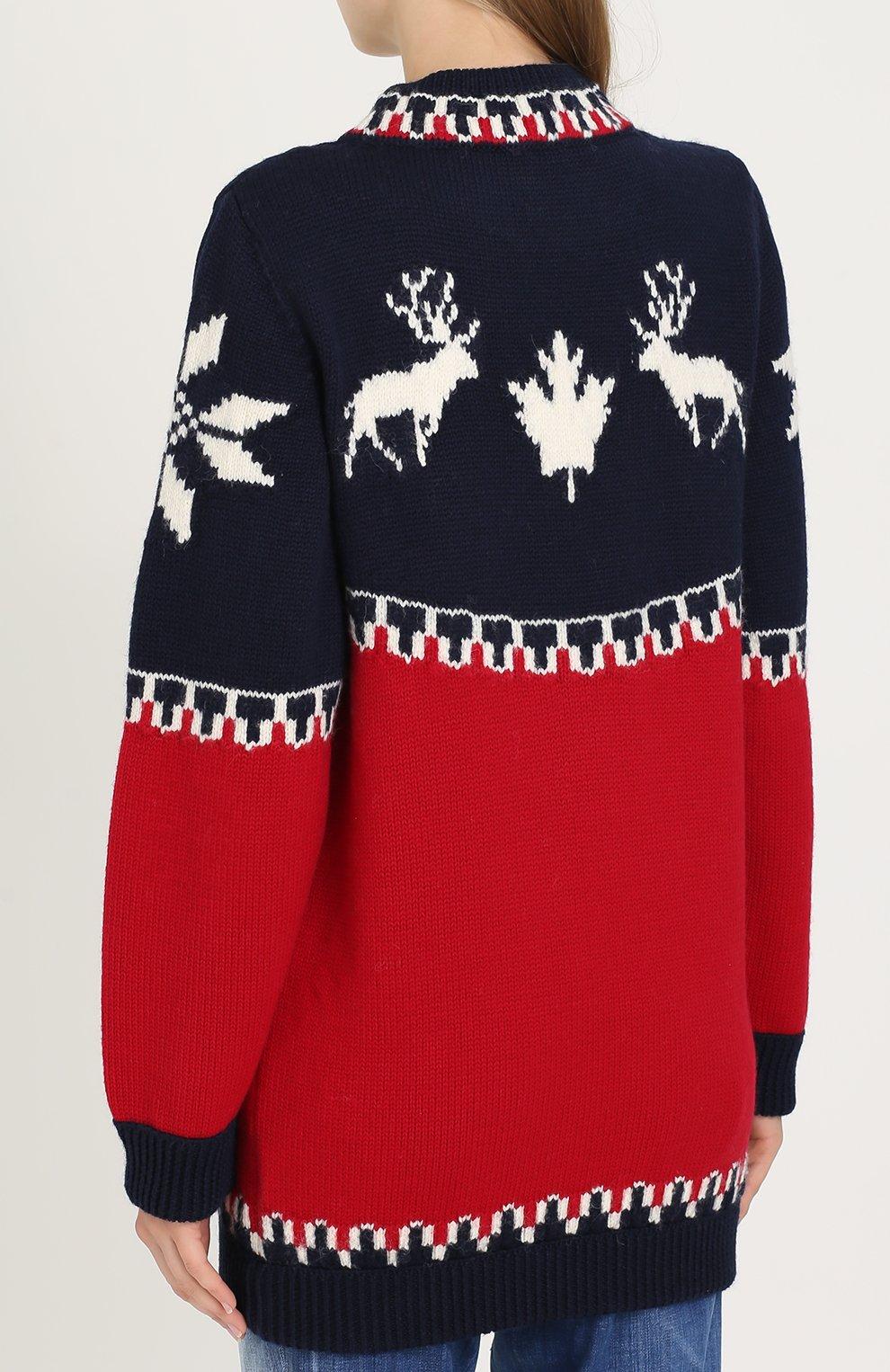 Удлиненный пуловер с принтом Dsquared2 красный | Фото №4