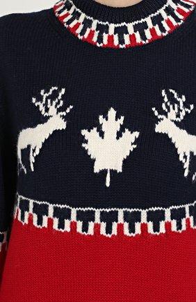 Удлиненный пуловер с принтом Dsquared2 красный | Фото №5