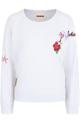 Пуловер с круглым вырезом и контрастными нашивками | Фото №1