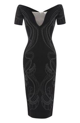 Платье-футляр с открытыми плечами и металлизированной отделкой Alice McCall черное | Фото №1