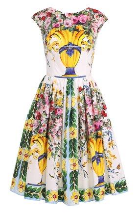 Приталенное мини-платье с принтом Dolce & Gabbana разноцветное   Фото №1
