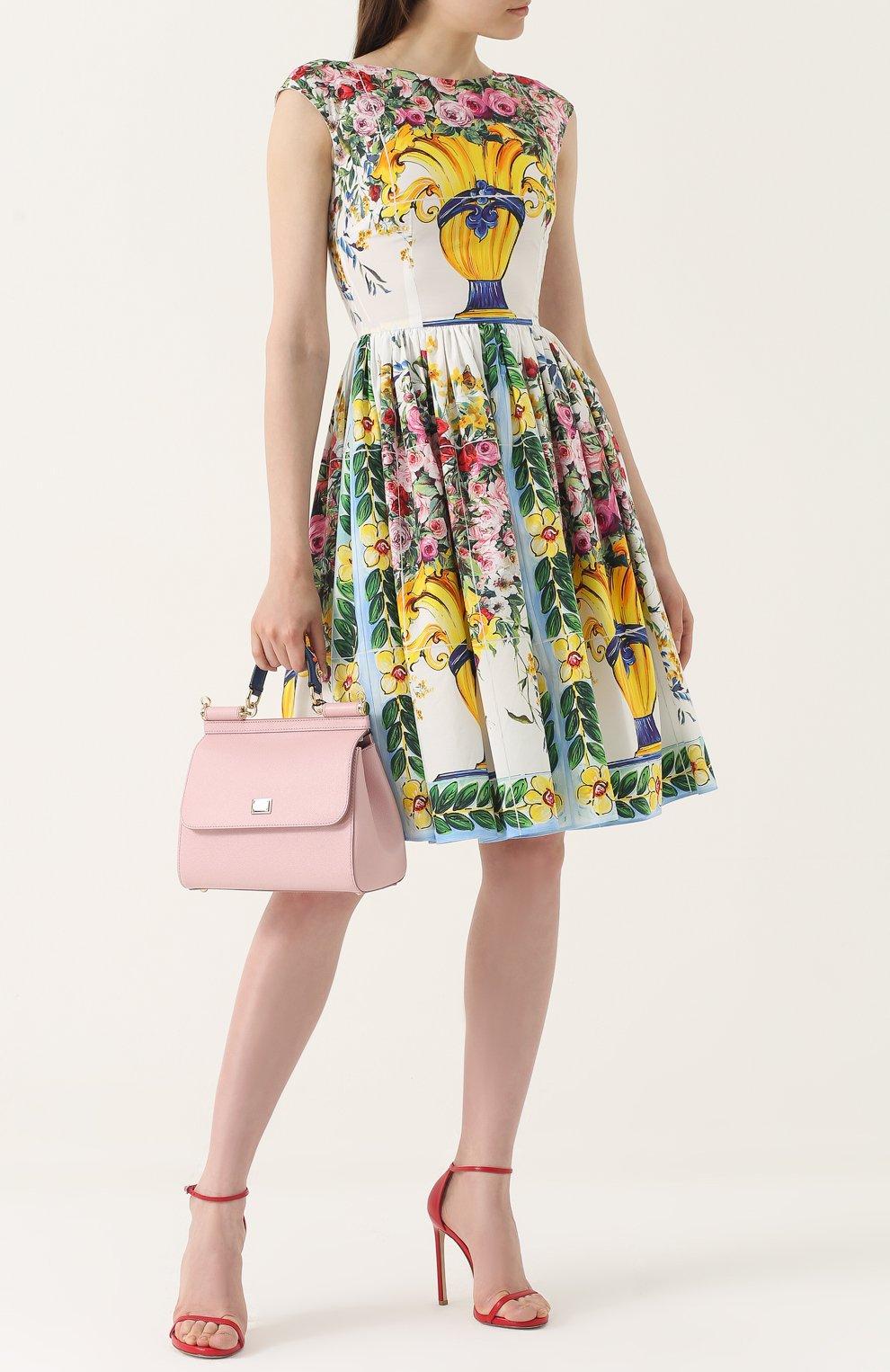 Приталенное мини-платье с принтом Dolce & Gabbana разноцветное   Фото №2