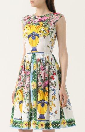 Приталенное мини-платье с принтом Dolce & Gabbana разноцветное   Фото №3