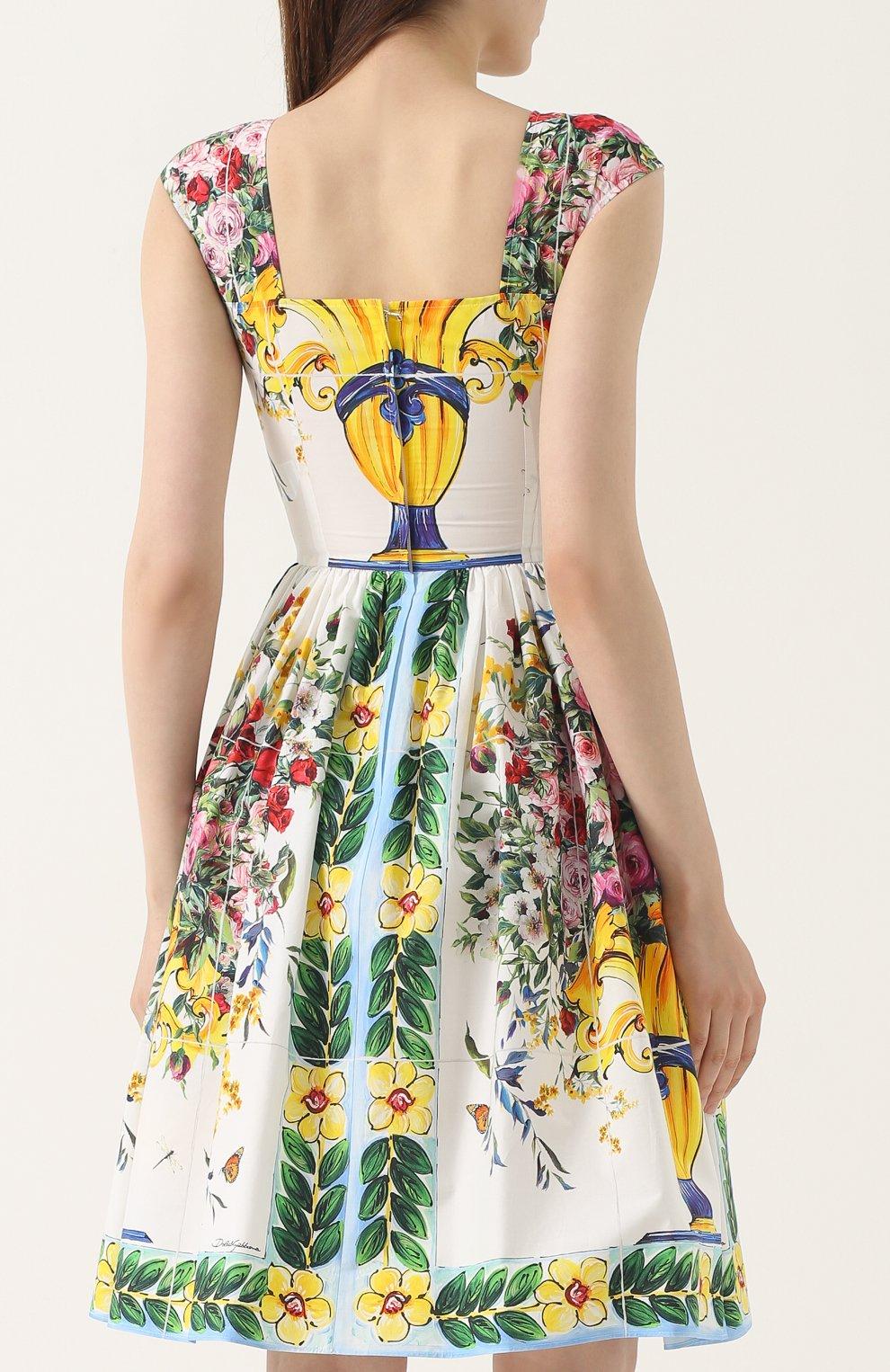 Приталенное мини-платье с принтом Dolce & Gabbana разноцветное   Фото №4