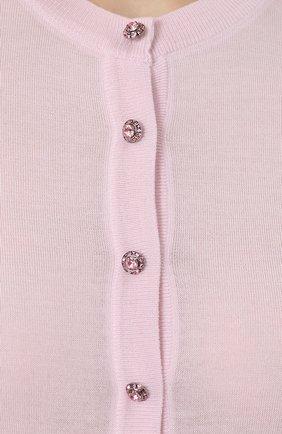 Кашемировый кардиган с декорированными пуговицами Dolce & Gabbana розовый   Фото №5