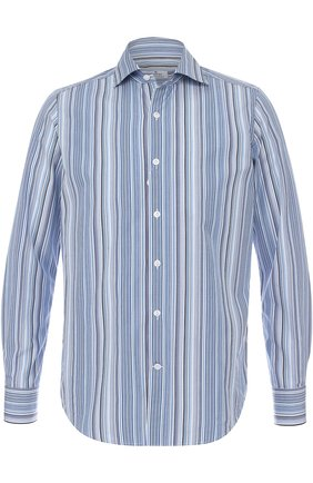 Хлопковая рубашка в полоску Sonrisa голубая | Фото №1