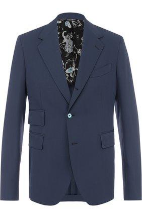Шерстяной однобортный пиджак Dolce & Gabbana синий | Фото №1