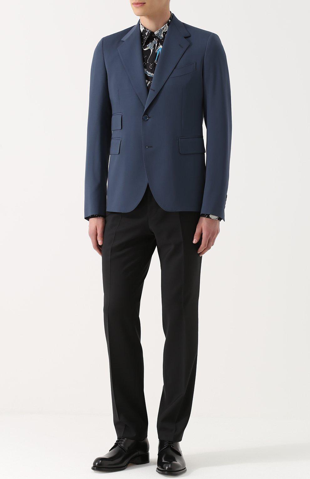 Шерстяной однобортный пиджак Dolce & Gabbana синий | Фото №2