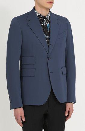 Шерстяной однобортный пиджак Dolce & Gabbana синий | Фото №3