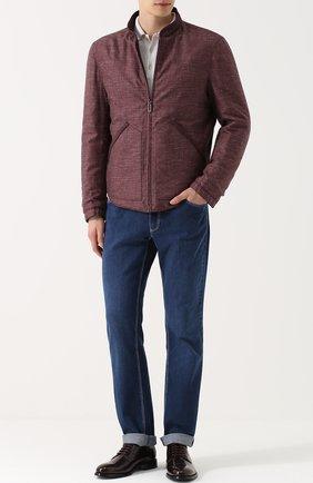 Двусторонняя куртка на молнии из смеси шелка и кашемира со льном | Фото №2