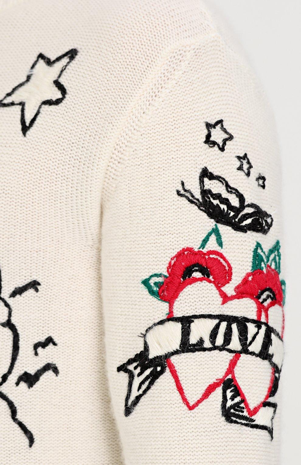 Джемпер из смеси шерсти и кашемира с контрастной вышивкой | Фото №5