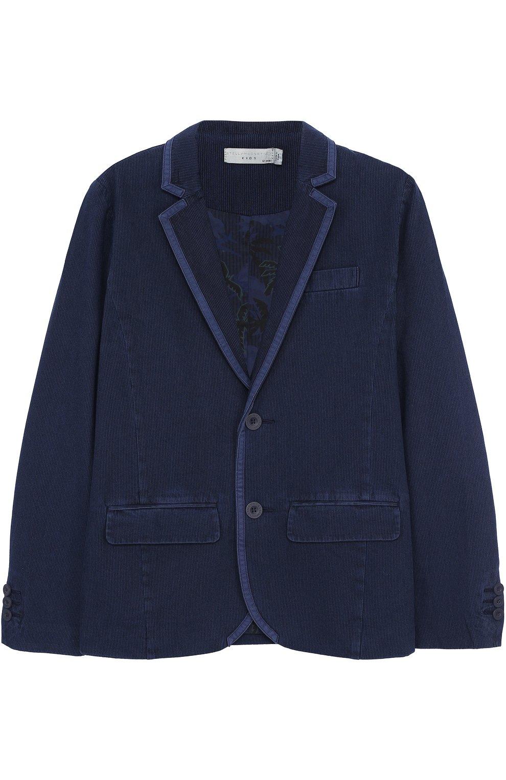 Однобортный пиджак из хлопка с отделкой   Фото №1