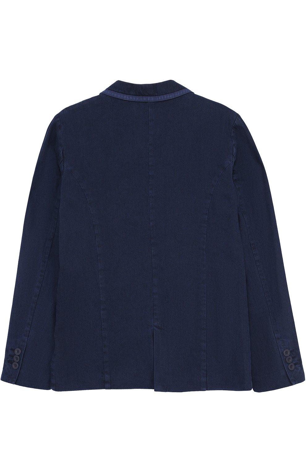 Однобортный пиджак из хлопка с отделкой   Фото №2