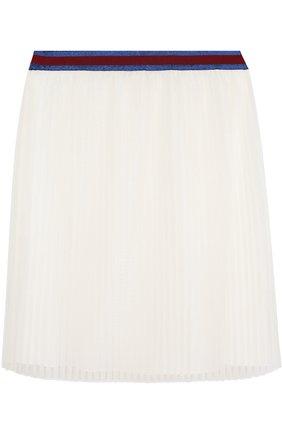 Плисированная юбка с контрастным поясом | Фото №1