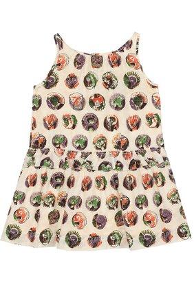 Шелковое мини-платье с принтом и оборкой | Фото №1