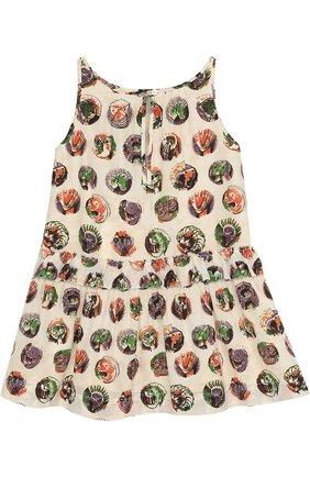 Шелковое мини-платье с принтом и оборкой | Фото №2