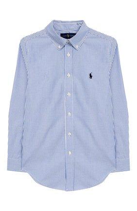 Хлопковая рубашка в полоску с логотипом бренда | Фото №1