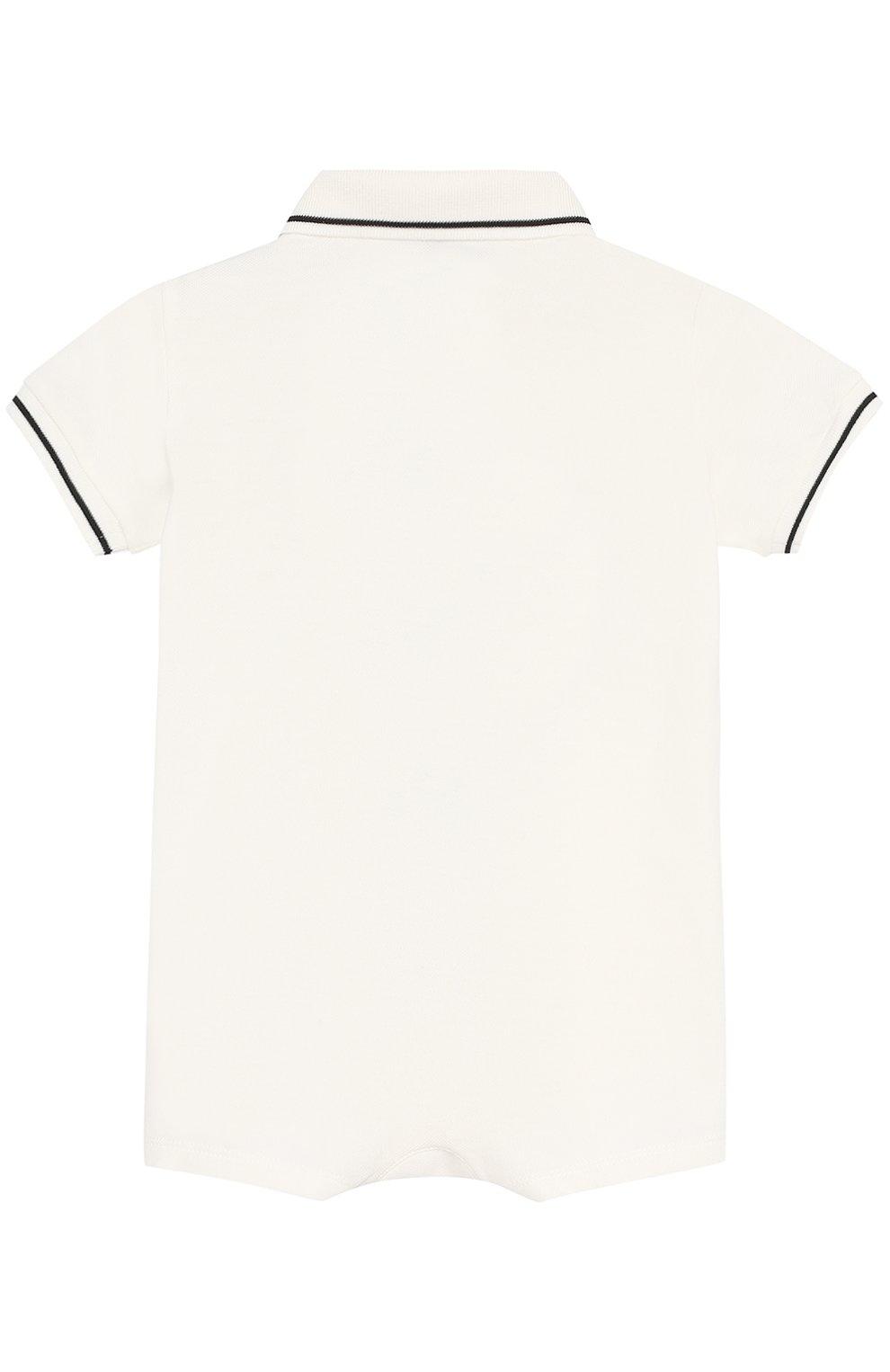 Хлопковый песочник с принтом и контрастной отделкой Dolce & Gabbana белого цвета   Фото №2