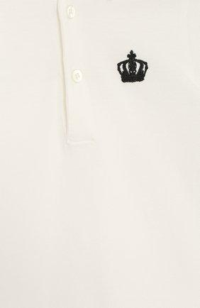 Хлопковый песочник с принтом и контрастной отделкой Dolce & Gabbana белого цвета   Фото №3