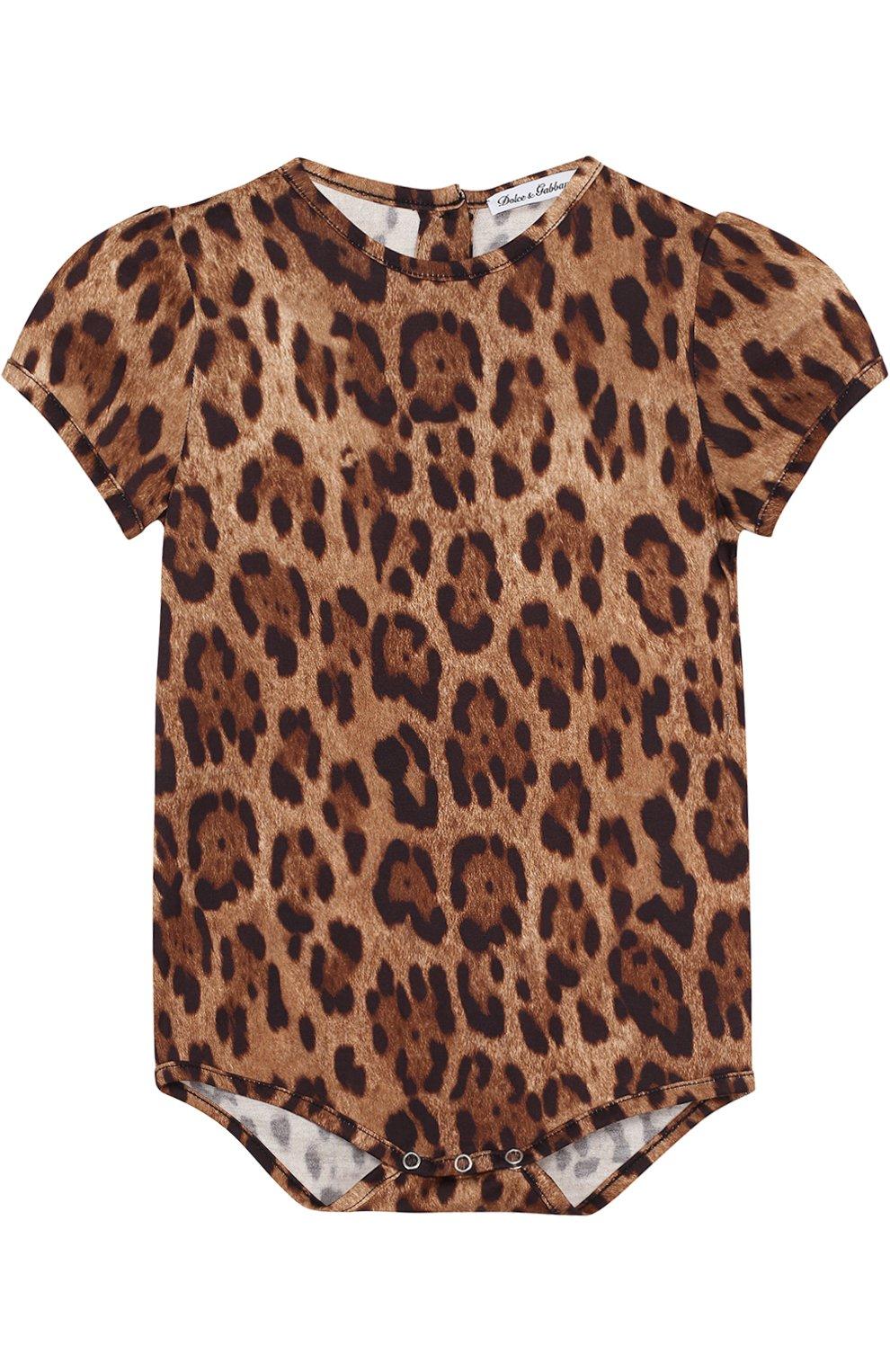 Хлопковый комплект из боди с леопардовым принтом и нагрудником   Фото №2