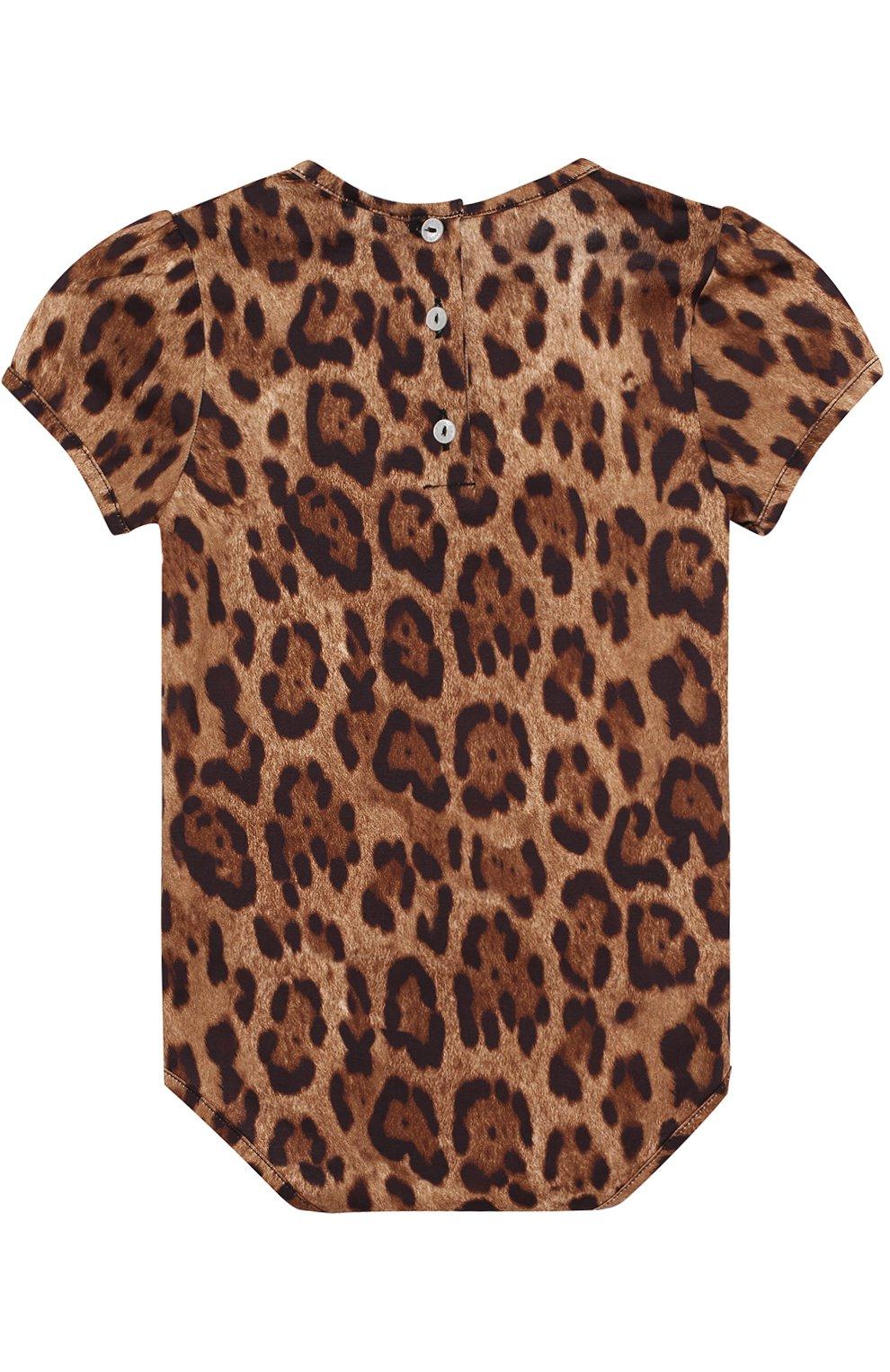 Хлопковый комплект из боди с леопардовым принтом и нагрудником   Фото №3