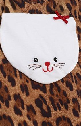 Хлопковый комплект из боди с леопардовым принтом и нагрудником   Фото №5