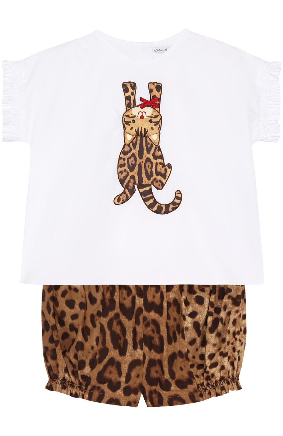 Хлопковый комплект из футболки и шорт с леопардовым принтом | Фото №1
