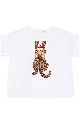 Хлопковый комплект из футболки и шорт с леопардовым принтом | Фото №2