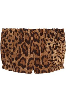 Хлопковый комплект из футболки и шорт с леопардовым принтом | Фото №4