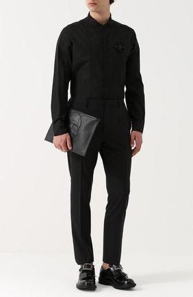 Хлопковая рубашка свободного кроя с воротником-стойкой Amen черная | Фото №1