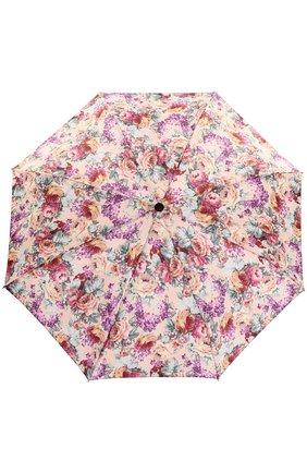 Складной зонт с цветочным принтом и декором на ручке | Фото №1