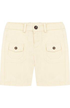 Хлопковые шорты с накладными карманами и контрастными пуговицами | Фото №1