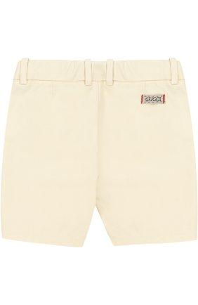 Хлопковые шорты с накладными карманами и контрастными пуговицами | Фото №2