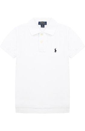 Хлопковое поло с логотипом бренда | Фото №1