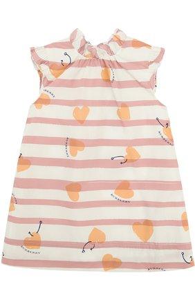 Хлопковое мини-платье А-силуэта с принтом и оборками | Фото №1