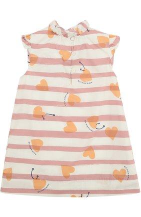 Хлопковое мини-платье А-силуэта с принтом и оборками | Фото №2