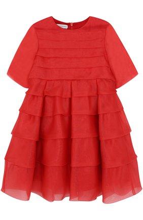 Шелковое мини-платье с оборками | Фото №1
