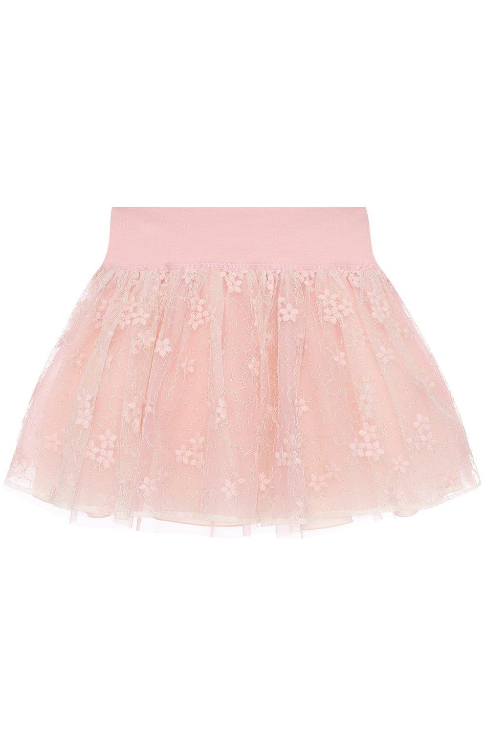 Мини-юбка с вышивкой и широким поясом | Фото №1