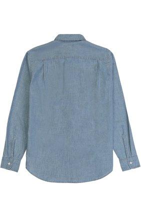 Детская рубашка из денима с накладными карманами POLO RALPH LAUREN голубого цвета, арт. 323657137 | Фото 2 (Статус проверки: Проверена категория; Рукава: Длинные; Материал внешний: Хлопок; Принт: Без принта; Случай: Повседневный)