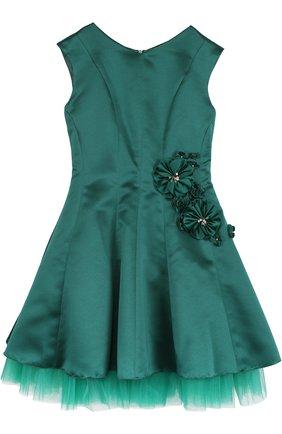 Приталенное платье-миди с цветочным декором   Фото №1