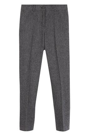 Детские хлопковые брюки прямого кроя Dolce & Gabbana серого цвета   Фото №1