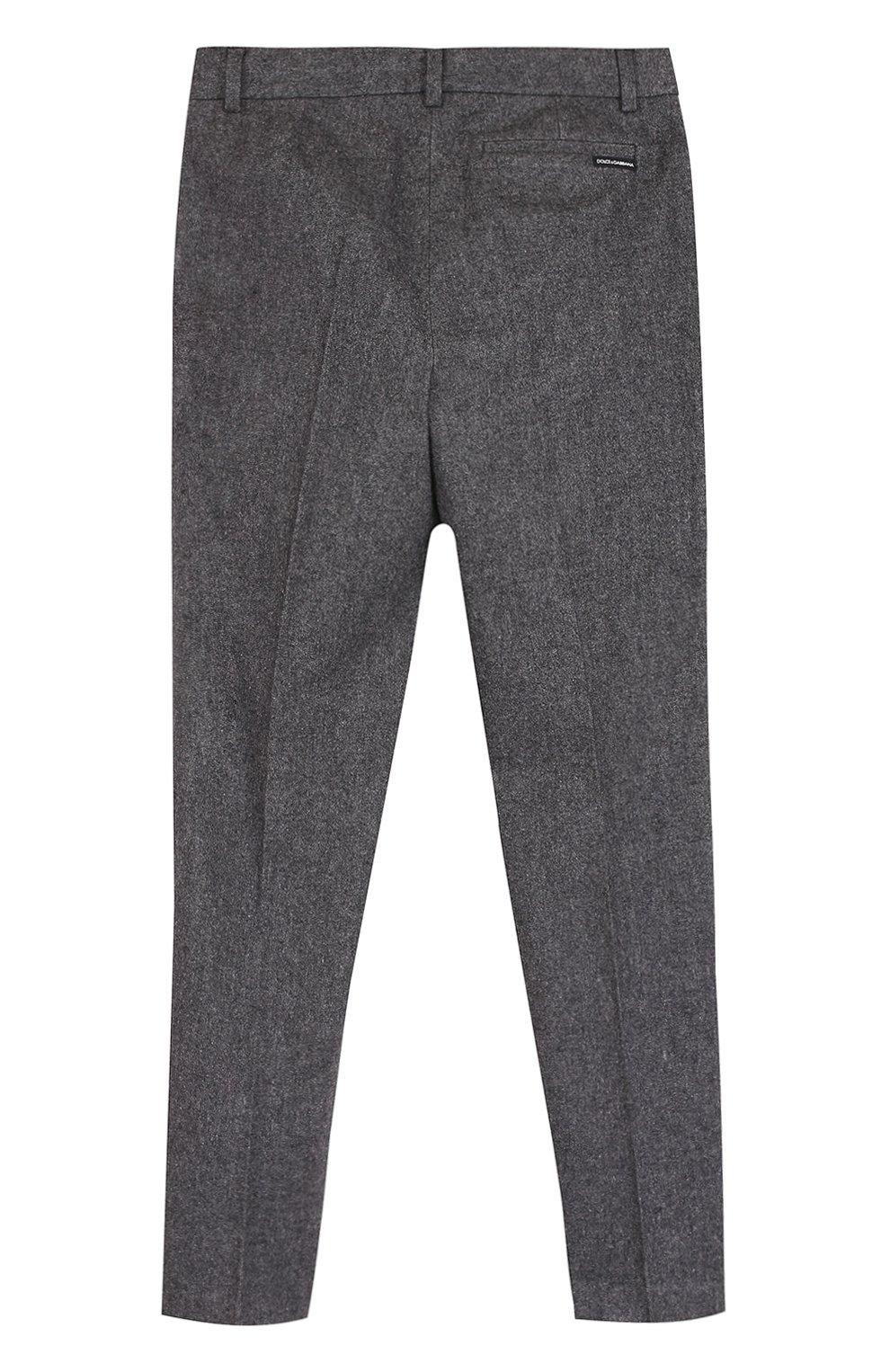 Детские хлопковые брюки прямого кроя Dolce & Gabbana серого цвета   Фото №2