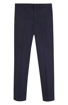 Детские хлопковые брюки прямого кроя Dolce & Gabbana темно-синего цвета | Фото №1