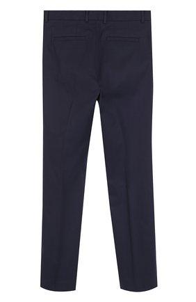 Детские хлопковые брюки прямого кроя Dolce & Gabbana темно-синего цвета | Фото №2