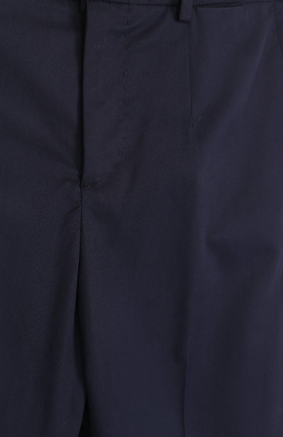 Детские хлопковые брюки прямого кроя Dolce & Gabbana темно-синего цвета | Фото №3