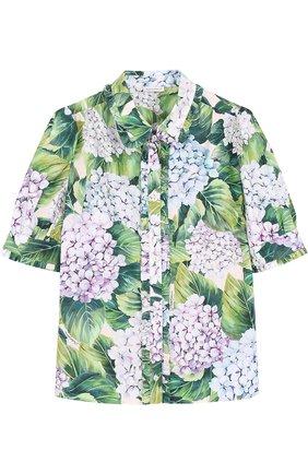 Детская хлопковая блуза с цветочным принтом и оборками Dolce & Gabbana зеленого цвета   Фото №1