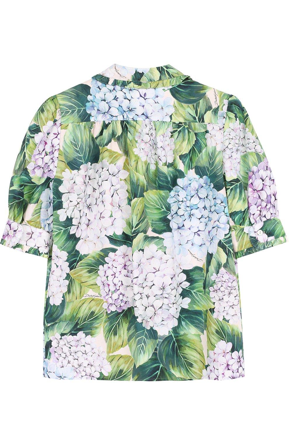 Детская хлопковая блуза с цветочным принтом и оборками Dolce & Gabbana зеленого цвета   Фото №2