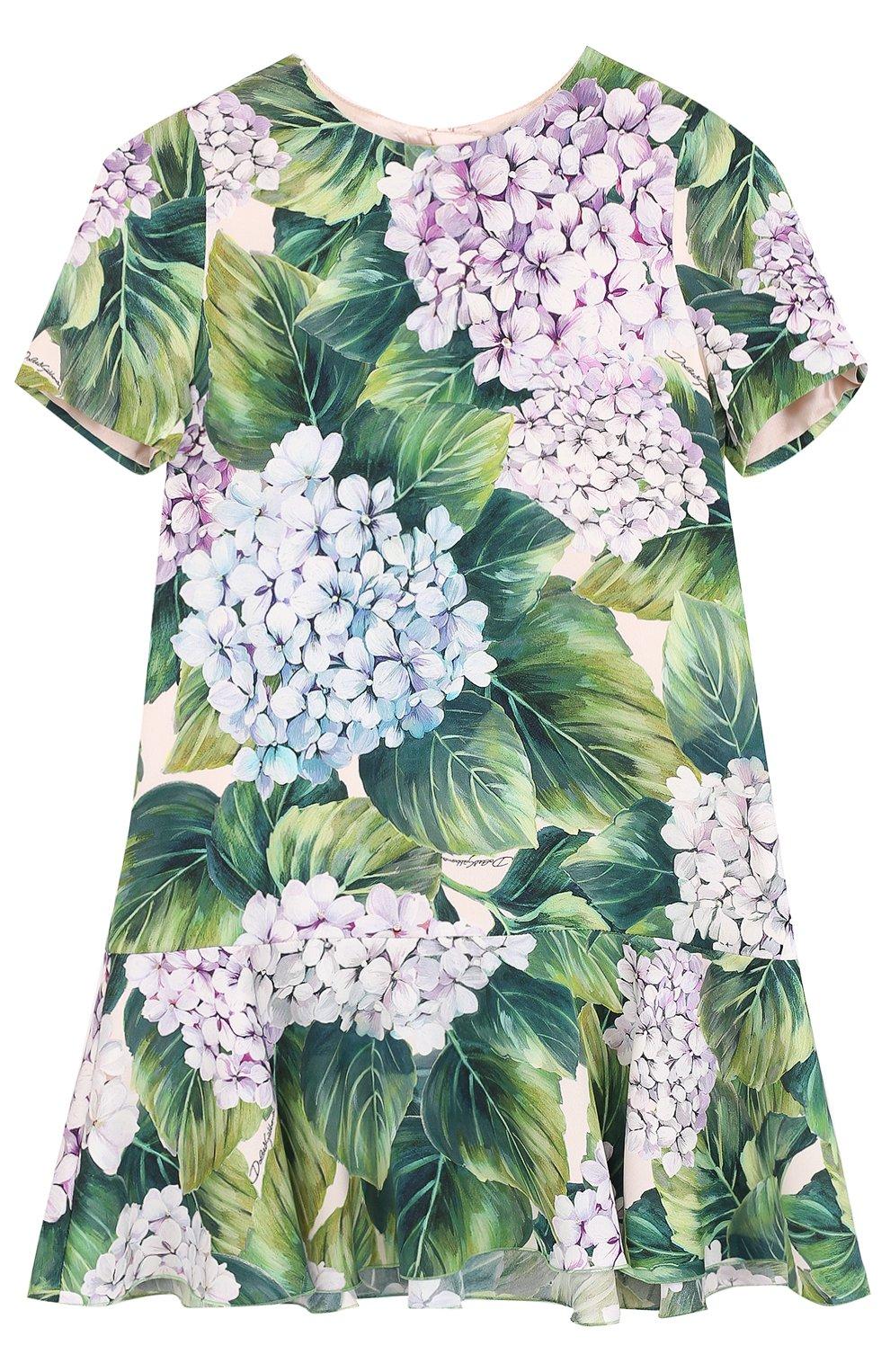 Шелковое мини-платье с цветочным принтом   Фото №1