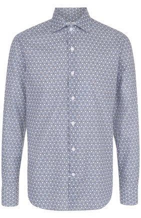 Хлопковая рубашка с принтом Sonrisa бирюзовая | Фото №1